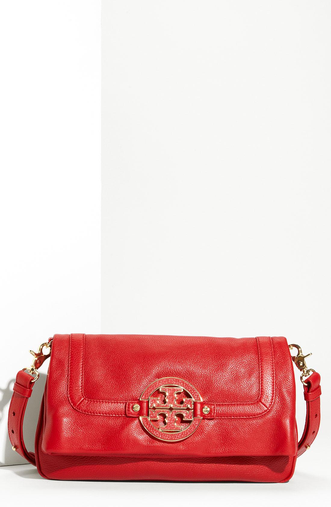 tory burch amanda logo flap crossbody bag in red french