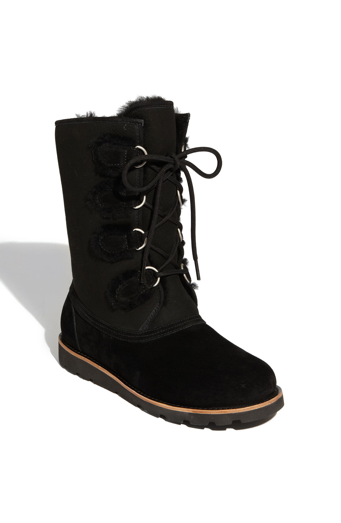 Ugg Black Suede And Shearling Lace Up Boot In Black Lyst