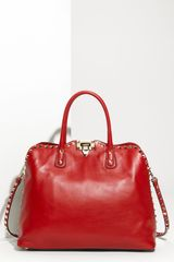 Valentino Rock Stud Leather Handbag in Red (rosso / platino) - Lyst