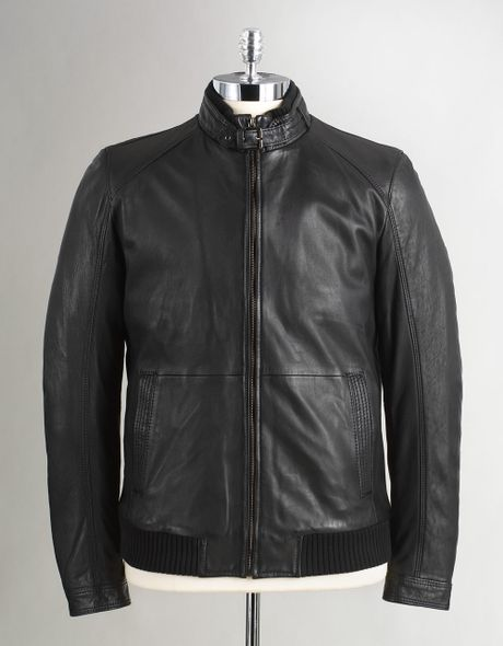 Boss Black Nedas Lamb Leather Bomber Jacket in Blue for Men | Lyst