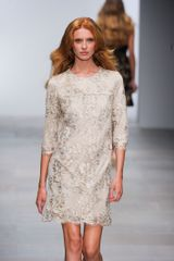 Issa Spring 2012 Short Mid Sleeve Lace Dress In Beige