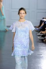 Richard Nicoll Spring 2012 Floral Print Sheer Short Sleeve Layered Top In Pale Purple in Purple - Lyst