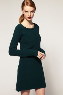 ASOS Collection Asos White Textured Rib Knitted Dress - Lyst