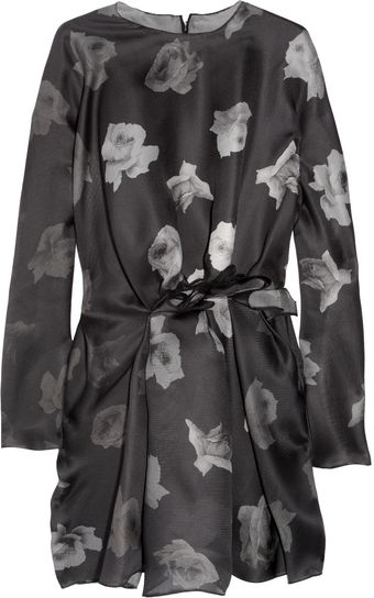 Lanvin Printed Silk-gazar Dress - Lyst