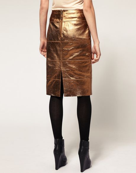 river island metallic leather pencil skirt in gold lyst