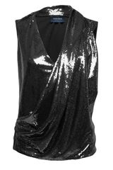 Peter Som Sequin Draped Sleeveless Top - Lyst