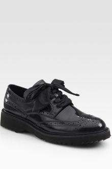 Prada Spazzolato Lace-up Wing Tip Oxfords - Lyst