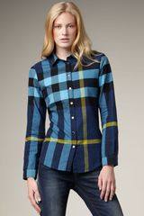 Burberry Brit Check Flannel Shirt, Petrol Blue - Lyst