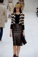 Burberry Prorsum Viscose Raffia Pencil Skirt in Brown - Lyst