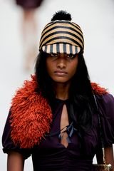 Burberry Prorsum Spring 2012 Raffia Collar In Orange - Lyst