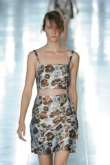 Christopher Kane Spring 2012 Silver Mini Cocktail Dress With Gold Flower Pattern - Lyst