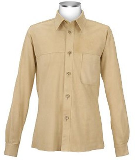 Forzieri Mens Beige Italian Suede Leather Shirt Jacket In