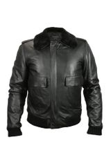 Forzieri Mens Black Leather Jacket W/detachable Shearling Collar - Lyst
