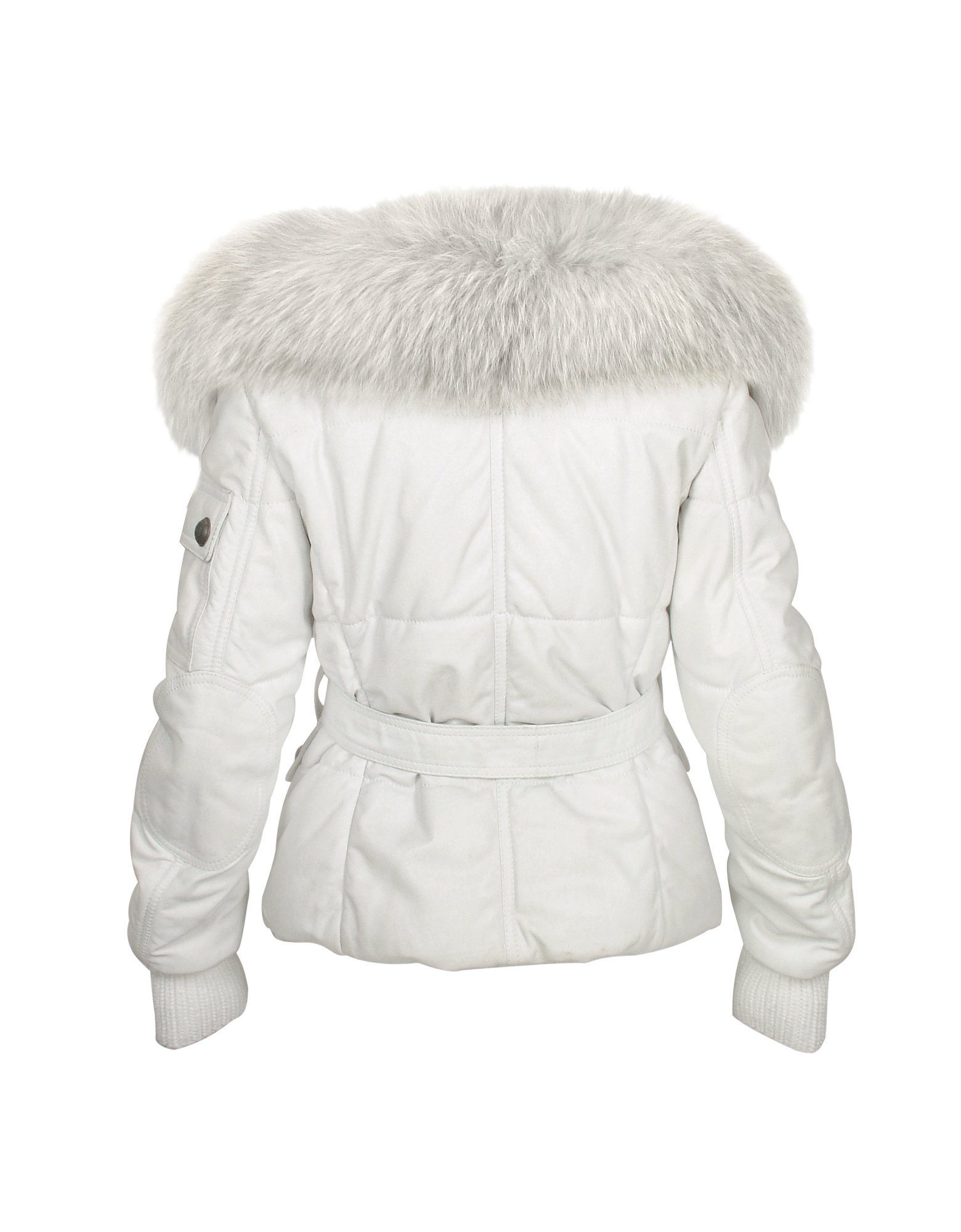 Forzieri Fur Collar Cream Multi-pocket Leather Jacket in White | Lyst