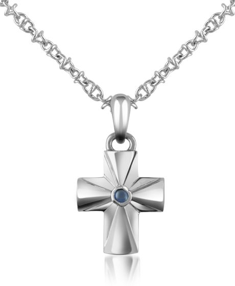 Forzieri Central Sapphire Stainless Steel Cross Pendant Necklace in Blue for