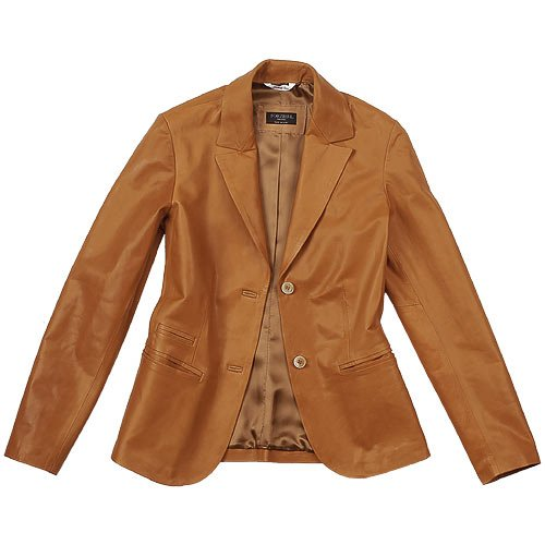 Forzieri Womens Tan Italian Genuine Leather Blazer in Brown | Lyst