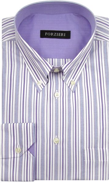 Forzieri white and purple striped cotton button down dress for Purple striped dress shirt