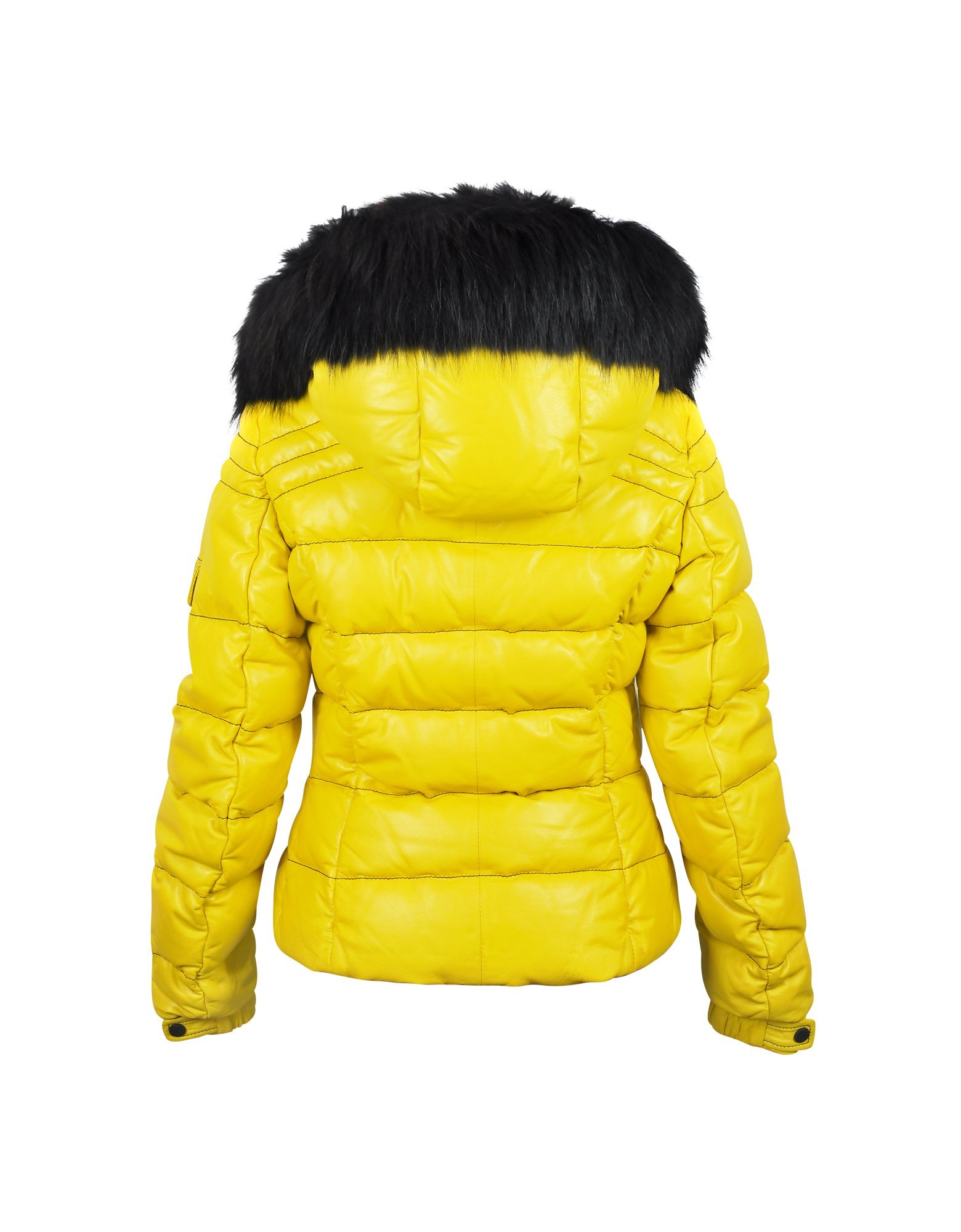 lyst  detachable fur hood in yellow