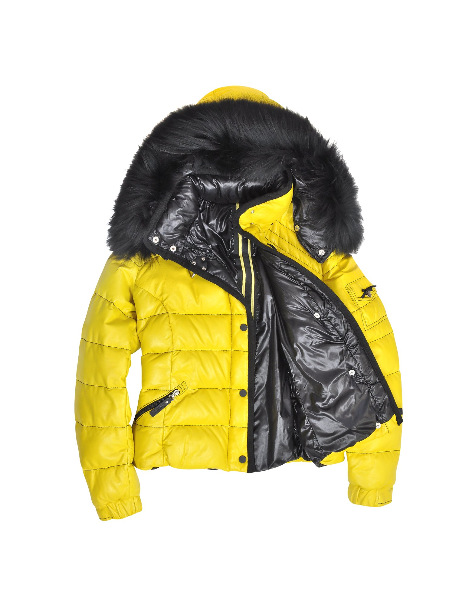 Forzieri Yellow Leather Puffer Jacket W/detachable Fur ...