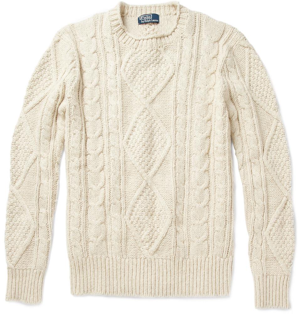 Polo ralph lauren Aran Sweater in Natural for Men | Lyst