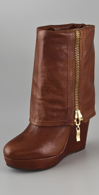 steven by steve madden brix wedge boots in brown lyst
