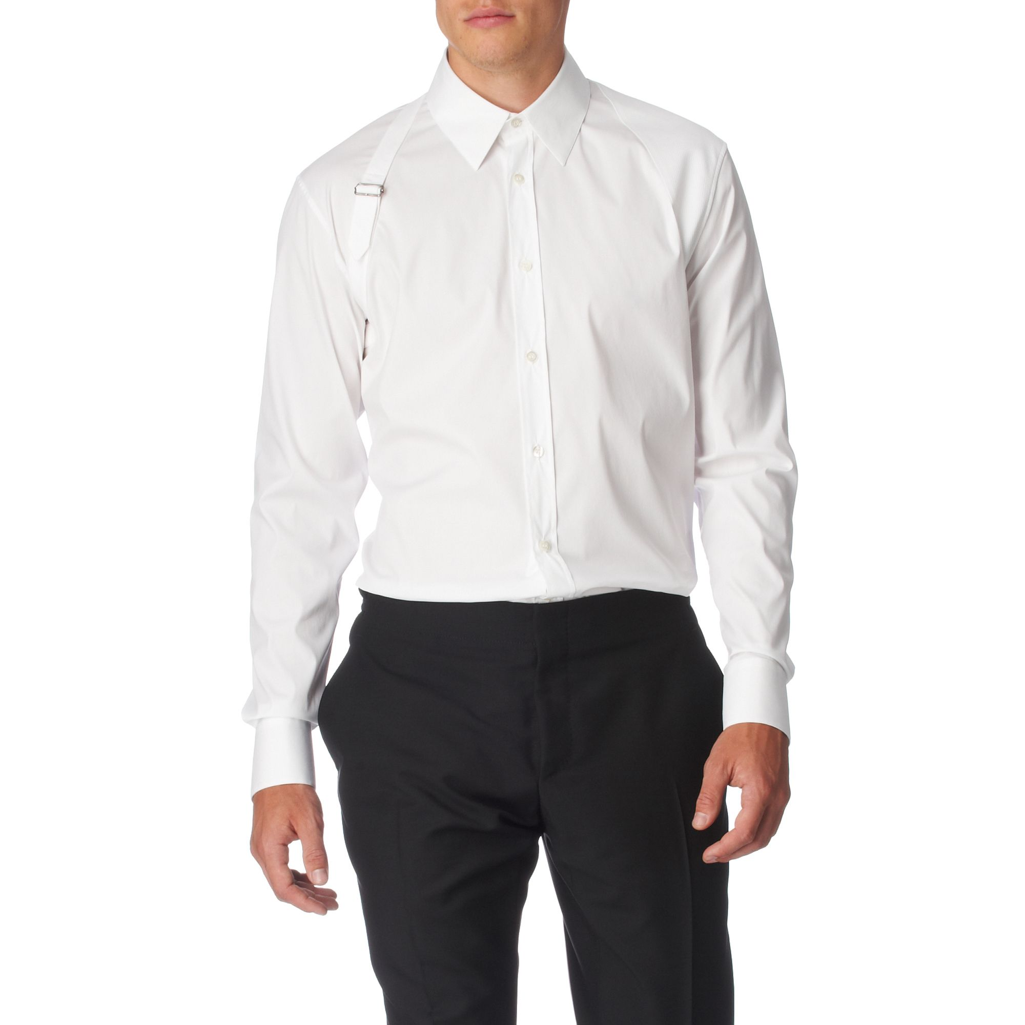Alexander mcqueen plain harness tailored fit single cuff for Single cuff dress shirt