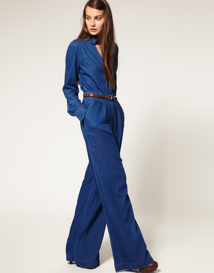 Asos collection Asos Denim Frill Collar Jumpsuit in Blue | Lyst