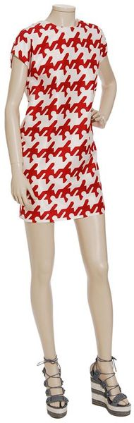 Balenciaga Woven Dress with Enlarged Houndstooth-print in Red