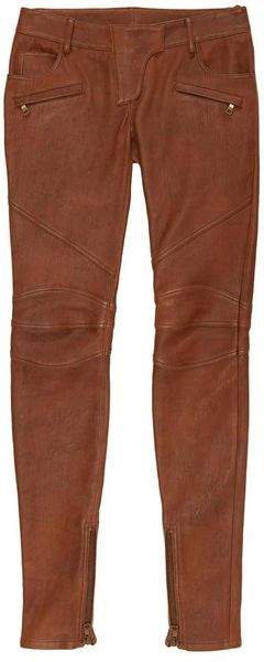 Balmain Leather Biker Trousers with Zip Detail in Brown