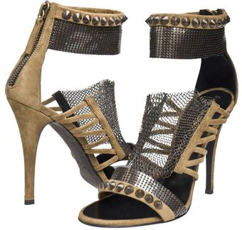 Balmain Suede Sandal with Chainmail Detail - Lyst