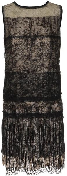 Bottega Veneta Fringed Silk Dress with Tiered Lace - Lyst