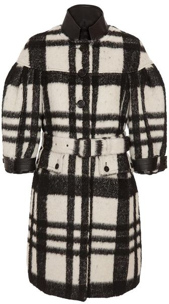 Burberry Prorsum Checked Coat in Black (black white) - Lyst