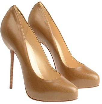 Christian Louboutin Big Stack Leather Court Shoes - Lyst