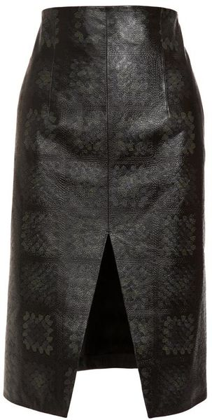 Christopher Kane Printed Leather Pencil Skirt in Gray (grey) - Lyst