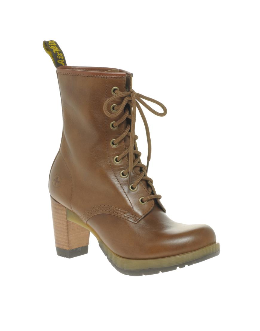 Dr martens dr martens diva darcie 8 eye boot in brown tan lyst - Dr martens diva ...