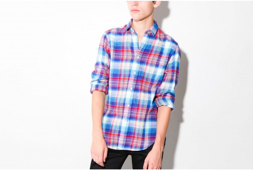 Gitman Brothers Vintage Blue Red White Portuguese Flannel