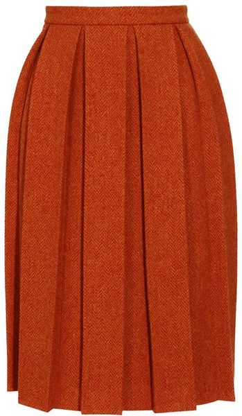 House Of Holland Harris Tweed Pleated Skirt in Orange - Lyst