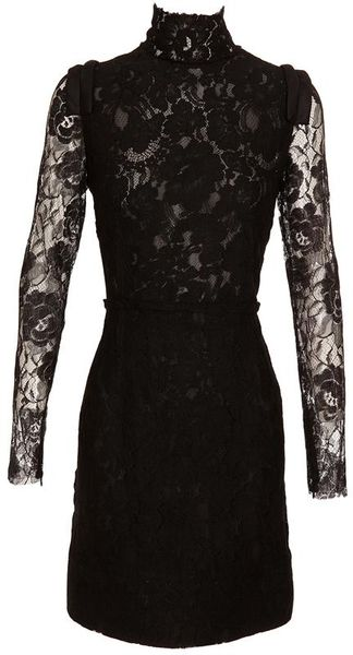 Lanvin High-neck Lace Dress - Lyst