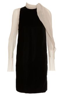 Lanvin Velvet and Silk-chiffon Dress - Lyst