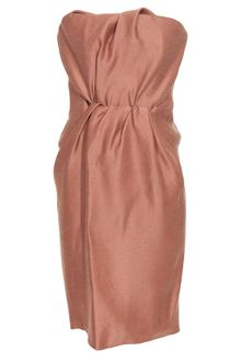Lanvin Gathered Silk Gazar Bustier Dress - Lyst