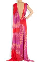 Matthew Williamson Printed Silkchiffon Gown in Pink - Lyst
