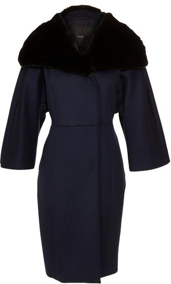 Max Mara Atelier Virgin Wool-cashmere Coat with Rabbit Fur Collar - Lyst