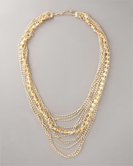 Neiman Marcus Exclusive Multi Strand Crystal Necklace In