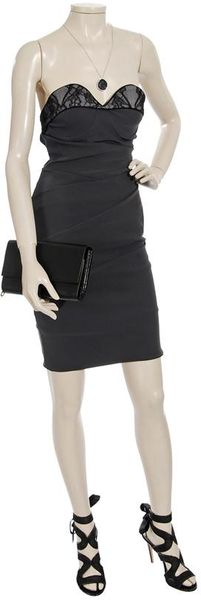 Preen Peep Strapless Dress with Lace Bust in Black (grey) - Lyst