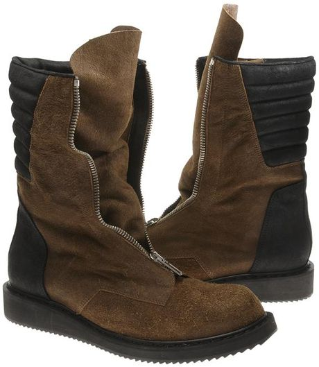 rick owens suede boots in brown for black