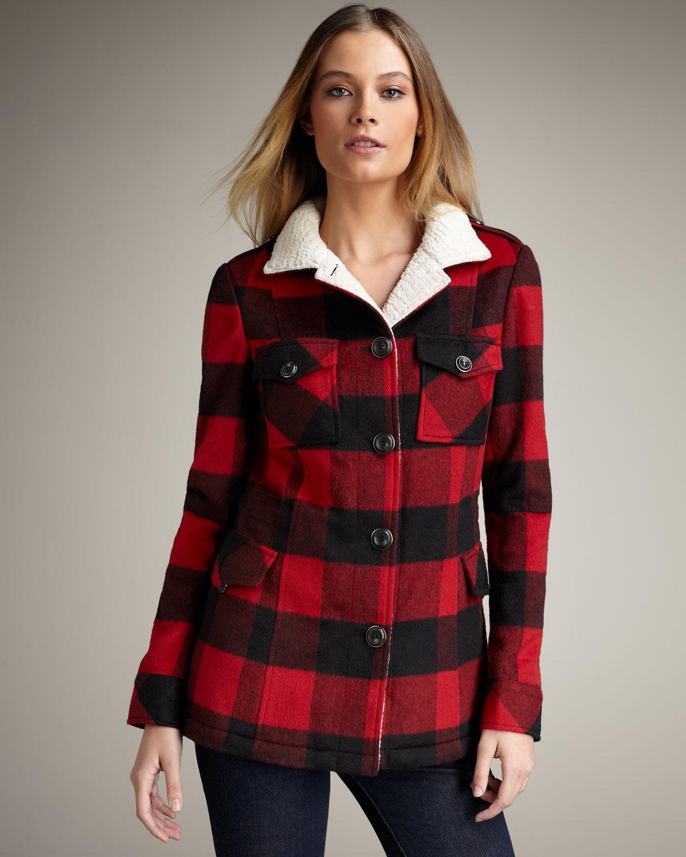 Vine Lumberjack Jacket 90s Boyfriend Blazer Red Black Buffalo Plaid Coat Women S