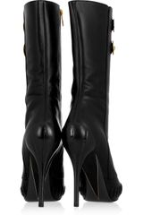 Versace Nappa Leather Peeptoe Boots in Black - Lyst