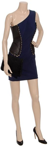 Versace One Shoulder Dress in Blue (black navy) - Lyst