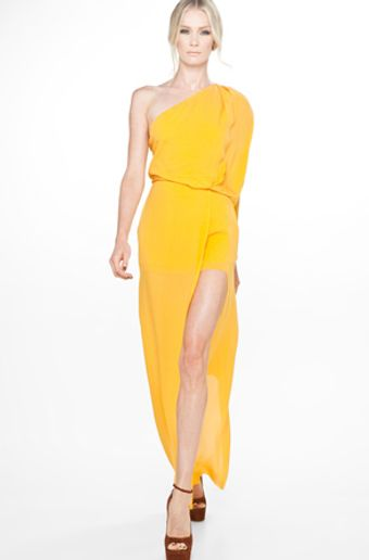 Acne Emile Silk Draped Dress in Goldenrod - Lyst