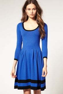 ASOS Collection Asos Contrast Fit and Flare Knitted Dress - Lyst